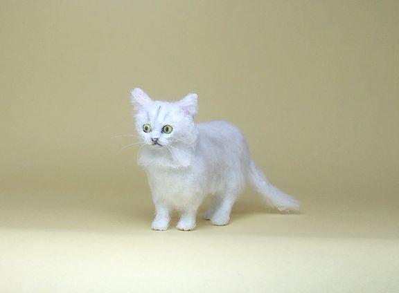 ★即決 1/12 ミニチュア ペルシャ猫 チンチラ ハンドメイド 羊毛フェルト 植毛 猫_画像1