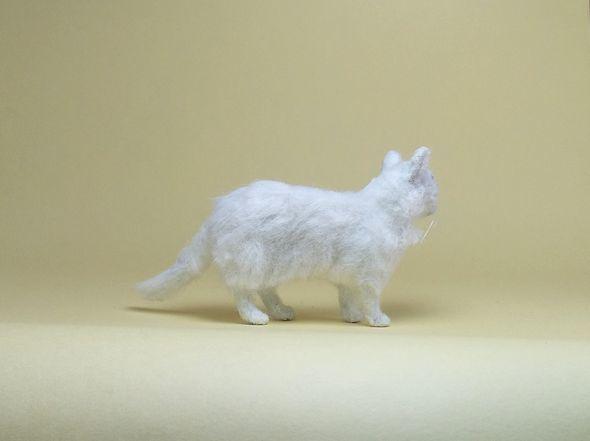 ★即決 1/12 ミニチュア ペルシャ猫 チンチラ ハンドメイド 羊毛フェルト 植毛 猫_画像6