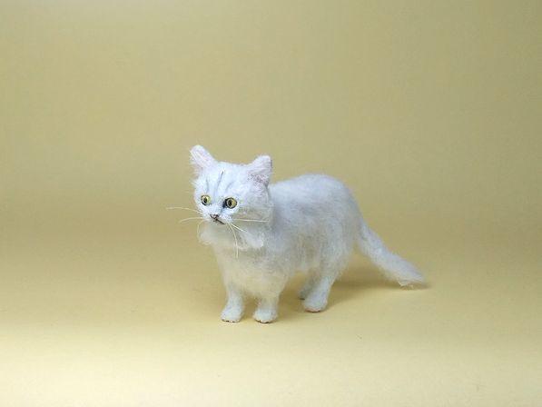 ★即決 1/12 ミニチュア ペルシャ猫 チンチラ ハンドメイド 羊毛フェルト 植毛 猫_画像3