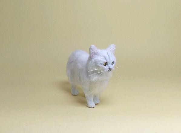 ★即決 1/12 ミニチュア ペルシャ猫 チンチラ ハンドメイド 羊毛フェルト 植毛 猫_画像4