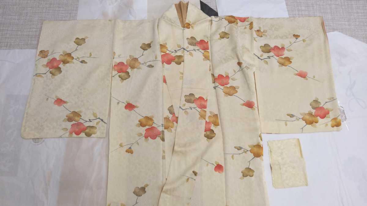 女性着物羽織 絹 紬 身丈149cm 袖丈52cm アンティーク 年代物 和服 振袖用長襦袢 長襦袢 アンティーク着物 即購入可能 レディース 8_画像2