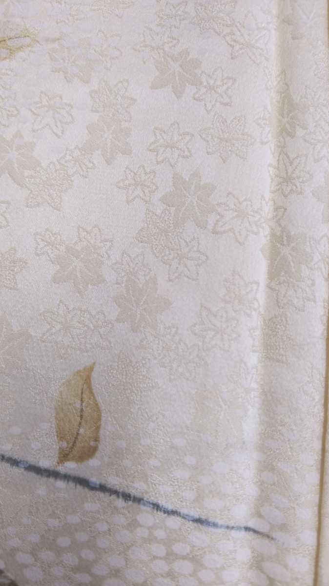 女性着物羽織 絹 紬 身丈149cm 袖丈52cm アンティーク 年代物 和服 振袖用長襦袢 長襦袢 アンティーク着物 即購入可能 レディース 8_画像3