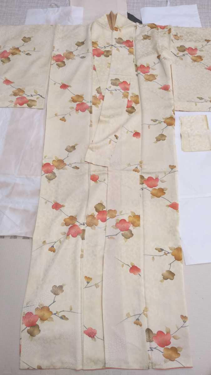 女性着物羽織 絹 紬 身丈149cm 袖丈52cm アンティーク 年代物 和服 振袖用長襦袢 長襦袢 アンティーク着物 即購入可能 レディース 8_画像1