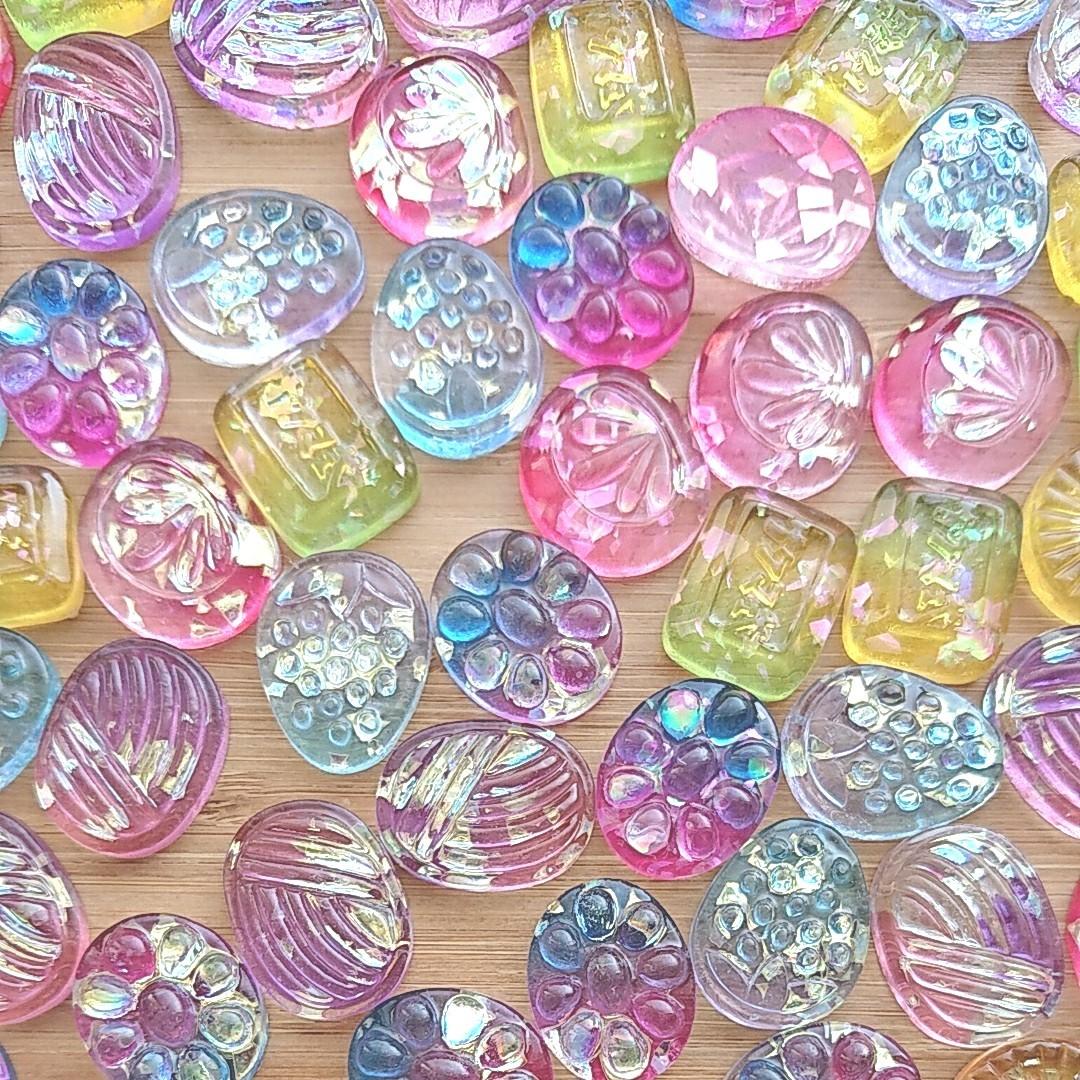 デコパーツ65B キラキラドロップ ランダム10個 飴 キャンディ