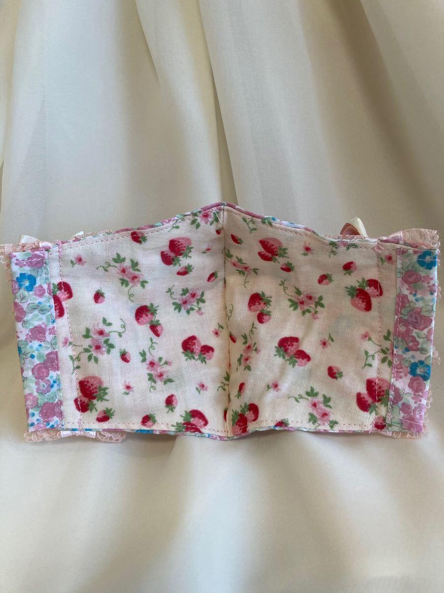 立体インナー 小花柄 薔薇 ピンク系 フリルレース リボン 国産コットン 国産ダブルガーゼ ハンドメイド