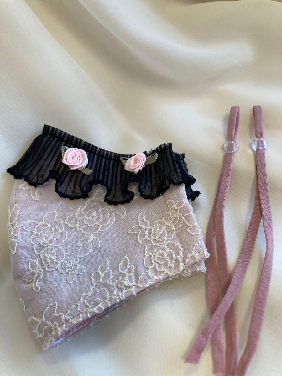 立体インナー コットンレース 薔薇刺繍 くすみピンク レース お花かざり ハンドメイド