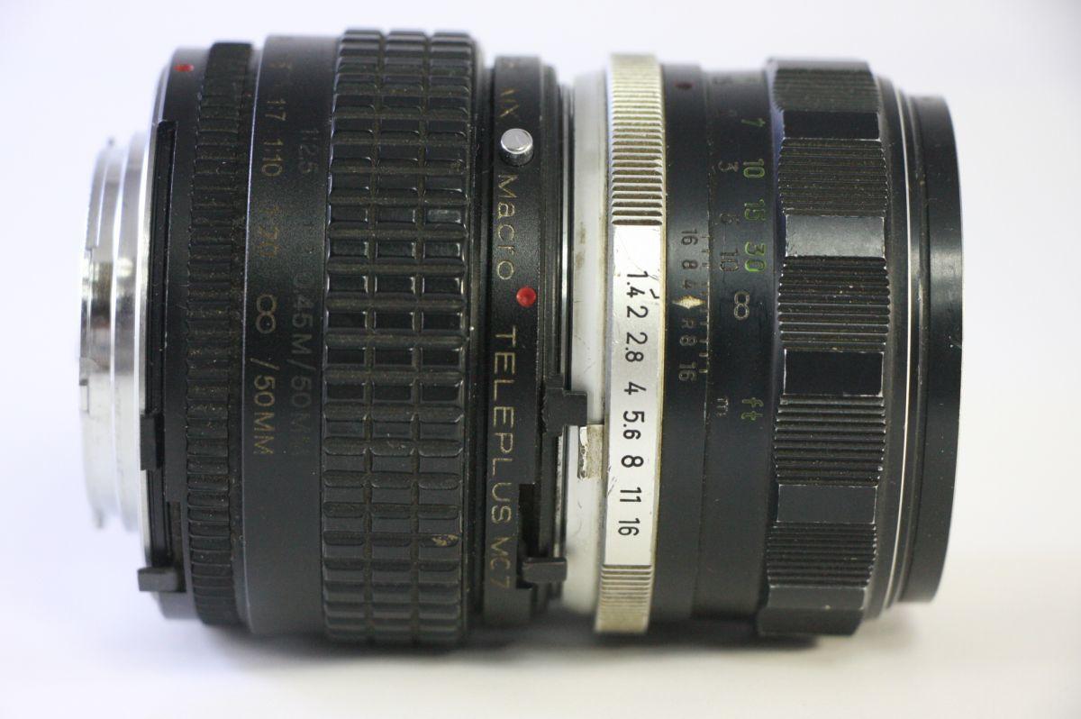 実用★ミノルタ MINOLTA MC ROKKOR-PF 58mm F1.4+Kenko TELEPLUS Macro★薄クモリ★JJ221_画像2