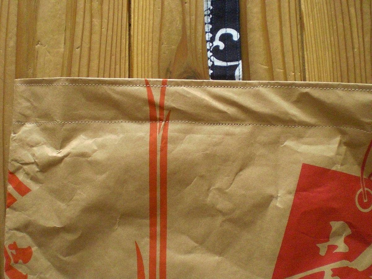 ハンドメイド 米袋バッグ 新潟米 もち米 朱色オレンジ赤 レトロ和モダン 浴衣リメイク エコバッグ・収納などに 肩掛け手提げ トートバッグ_画像3