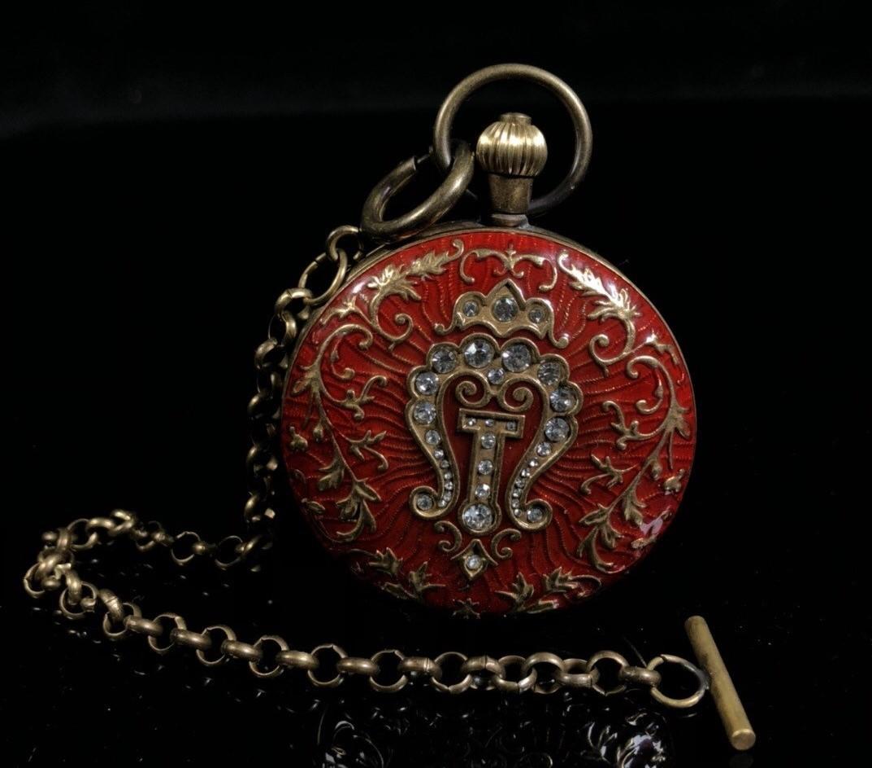 懷中時計【可動】時代物 機械式 手巻き 東洋雕刻 美品 古美術品 賞物