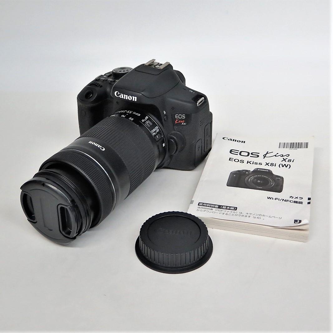 【1円~!!】 Canon キャノン EOS Kiss X8i/CANON ef-s 55-250mm 1:4-5.6 デジタル一眼レフカメラ 他 計3点 y73-981475s【Y商品】