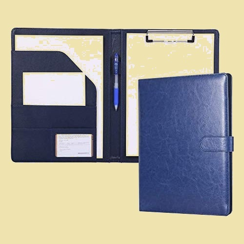 セール 新品 PU会議パッドクリップファイルバインダ-A4デスクパッド署名フォルダ クリップボ-ドフォルダ H-HF 事務用品 (ブル-)_画像1