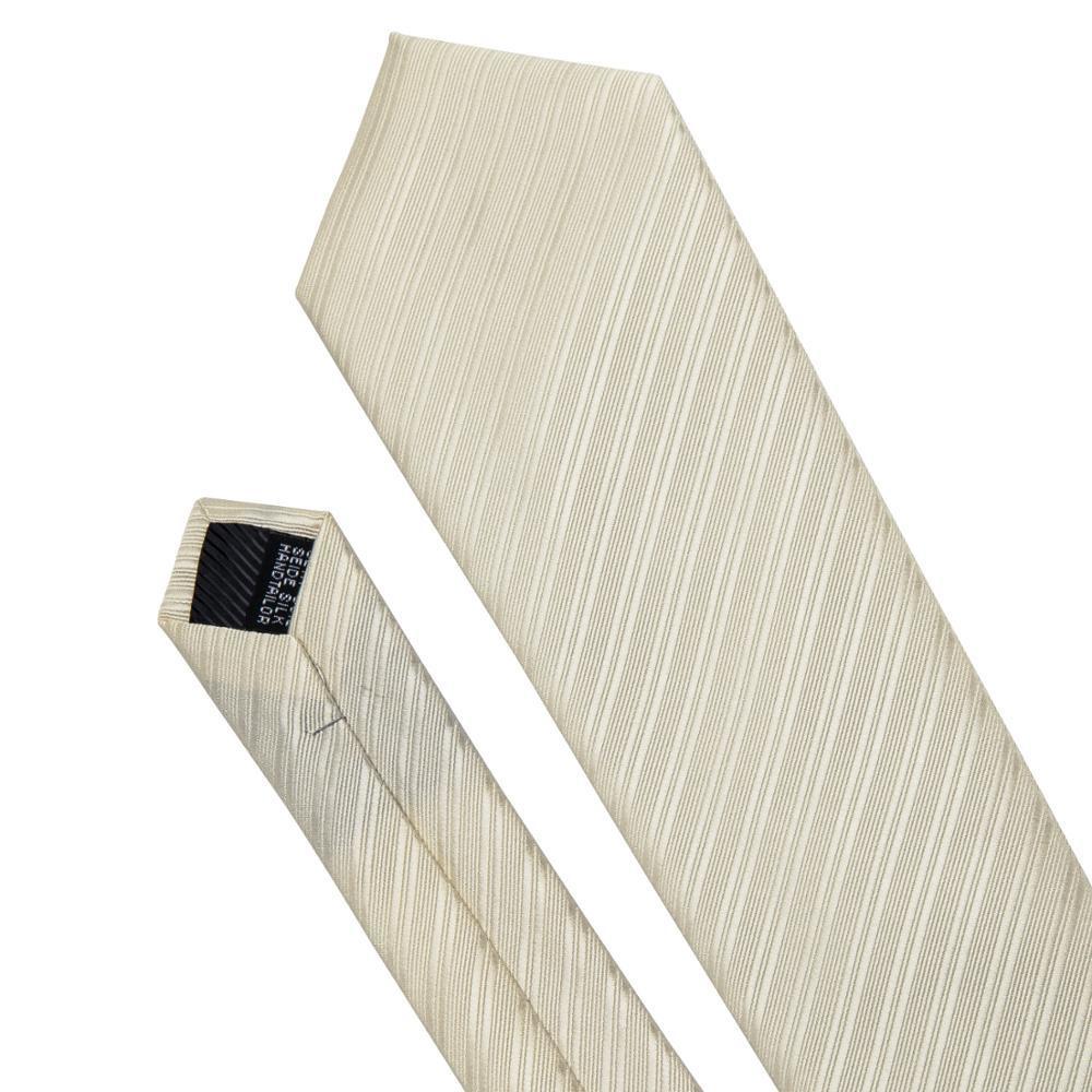 ネクタイ チーフ タイピン カフス 4点 セット 新品 シルク100% メンズ レギュラータイ シャンパンゴールド ストライプ _画像5