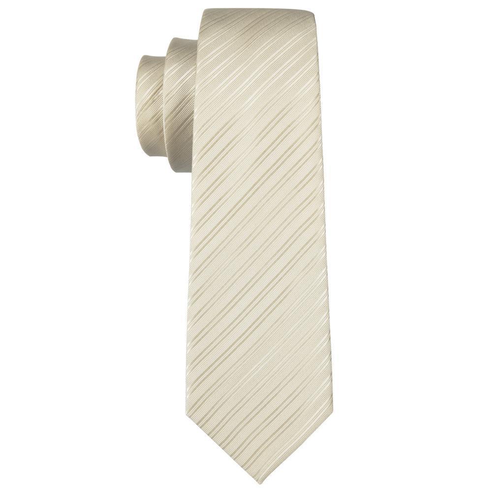 ネクタイ チーフ タイピン カフス 4点 セット 新品 シルク100% メンズ レギュラータイ シャンパンゴールド ストライプ _画像6