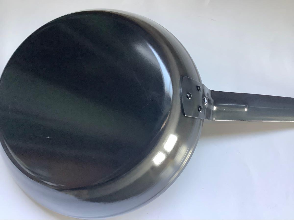 鉄製 黒厚底フライパン 26センチ IH対応 業務用 未使用 新品