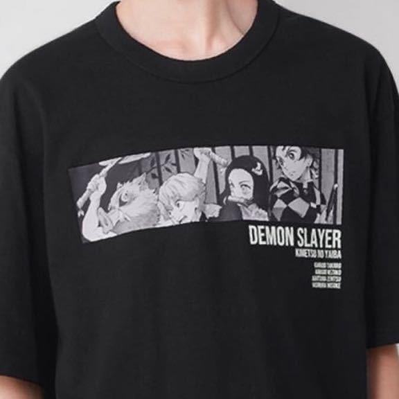 新品 鬼滅の刃 Tシャツ 半袖 XS ブラック ユニクロ gu 柱 炭次郎 ねずこ 伊之助 コットンビッグT Demon Slayer 1 150 160 キッズ 善逸_画像2