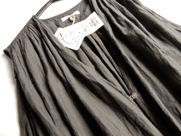 タグ付き未使用♪定価1.7万円 ヤラ YARRA コットン100%大人可愛いたっぷりギャザーマキシ丈ロング丈羽織りシャツワンピース♪_画像7