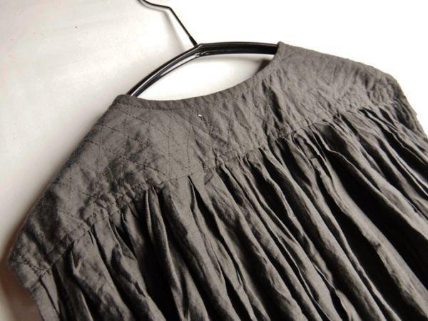 タグ付き未使用♪定価1.7万円 ヤラ YARRA コットン100%大人可愛いたっぷりギャザーマキシ丈ロング丈羽織りシャツワンピース♪_画像4