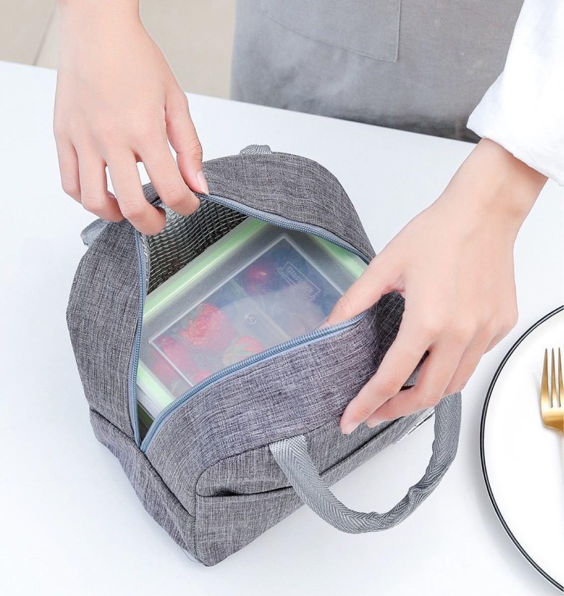 ランチバッグ 保冷 バッグ 大容量弁当袋 食品収納 断熱 ピクニック 手提げ弁当袋 ネイビー デイジー