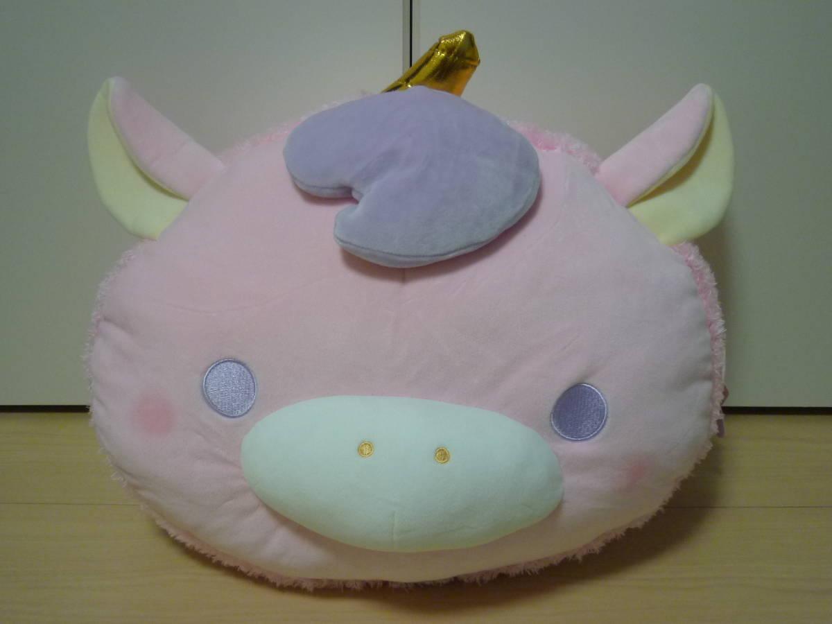 ♪もちふわ! KAWAII ユニコーンスイーツ BIG ぬいぐるみ 顔型マカロン ピンク 約36cm 新品 即決_画像1