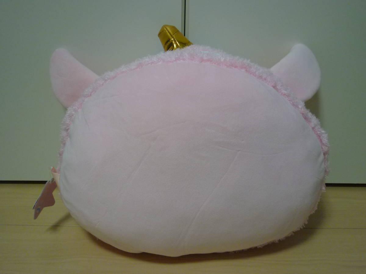 ♪もちふわ! KAWAII ユニコーンスイーツ BIG ぬいぐるみ 顔型マカロン ピンク 約36cm 新品 即決_画像2