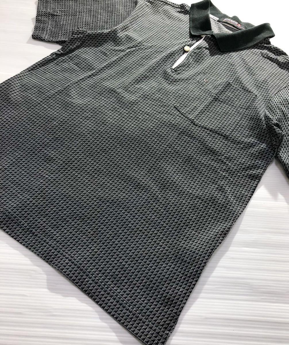 《le coq sportif GOLF ルコックゴルフ》ロゴ刺繍 総柄 半袖 ポロシャツ グレー×ブラック M_画像3