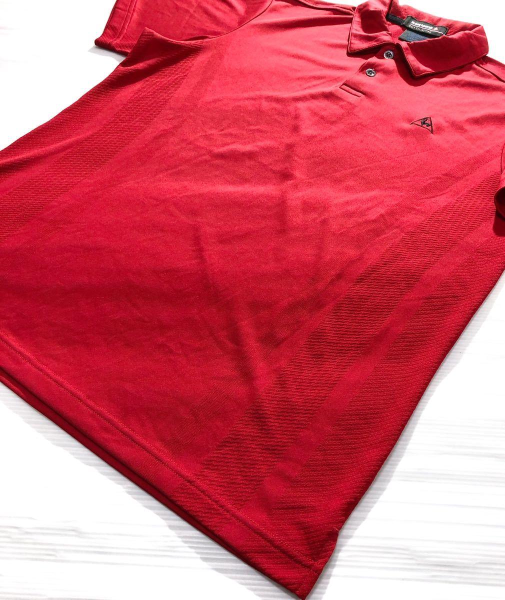 《le coq sportif GOLF ルコックゴルフ》ロゴ刺繍 半袖 ポロシャツ レッド_画像3