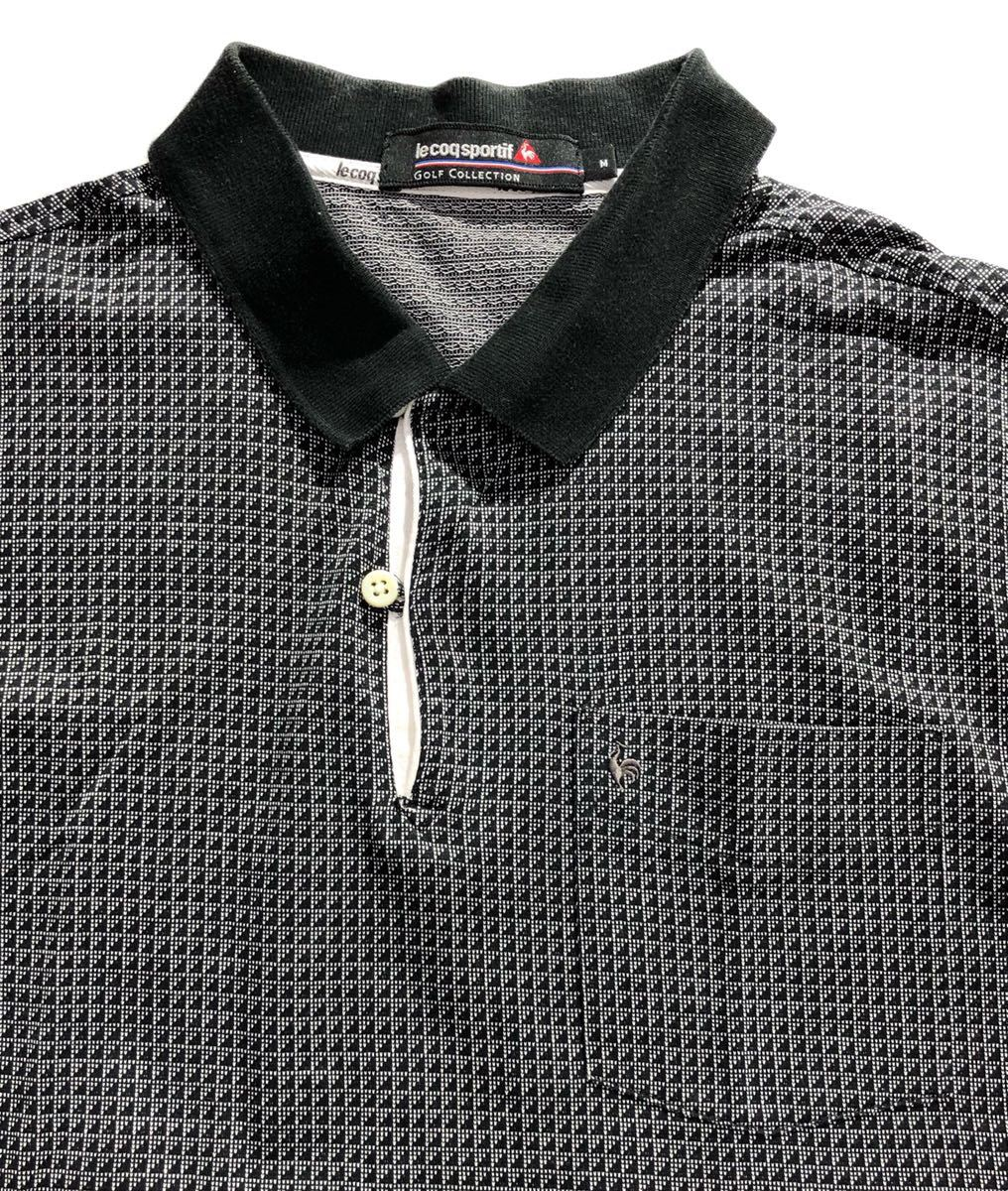 《le coq sportif GOLF ルコックゴルフ》ロゴ刺繍 総柄 半袖 ポロシャツ グレー×ブラック M_画像4