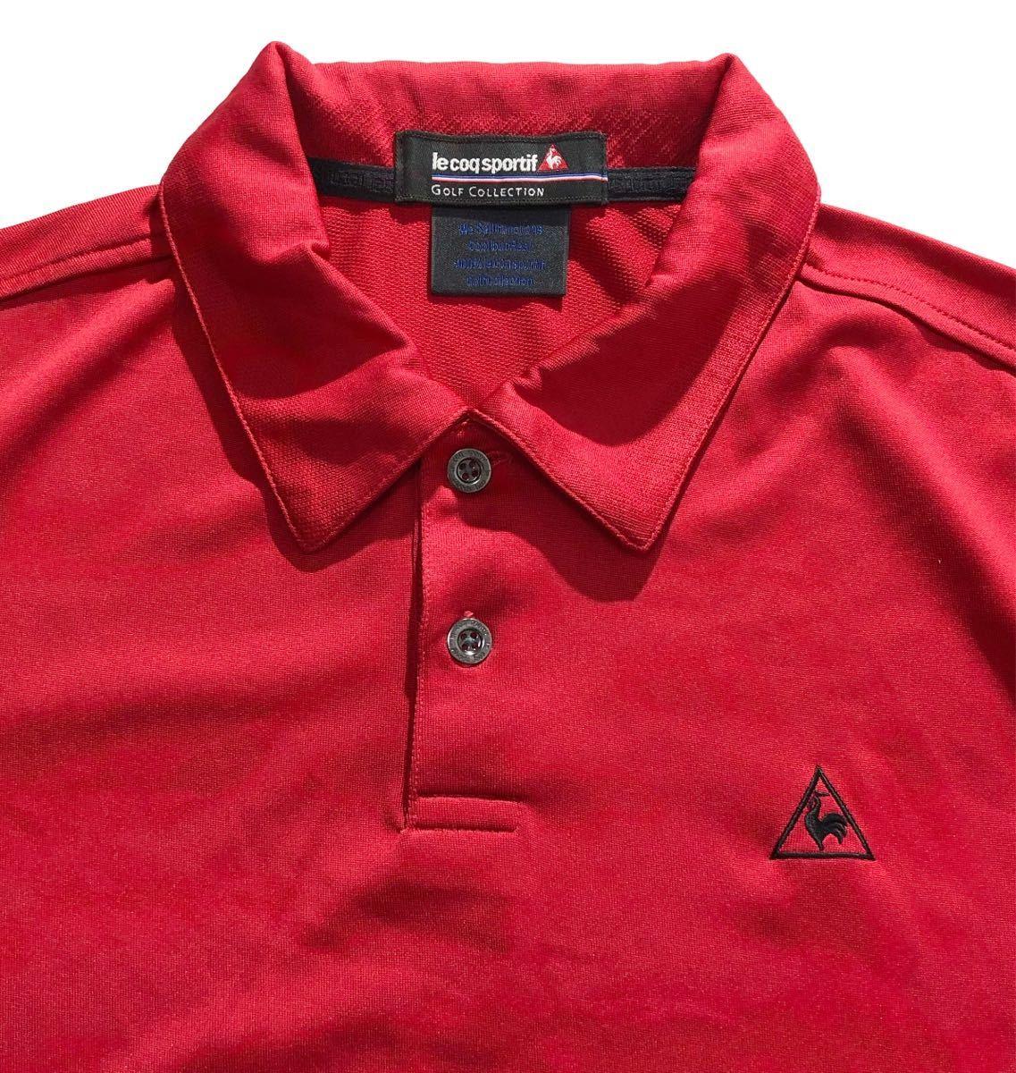 《le coq sportif GOLF ルコックゴルフ》ロゴ刺繍 半袖 ポロシャツ レッド_画像4