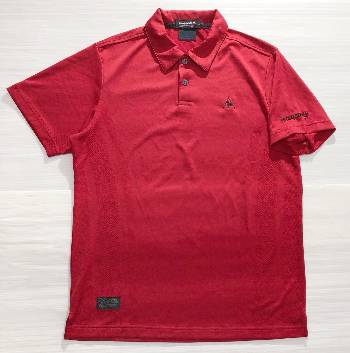 《le coq sportif GOLF ルコックゴルフ》ロゴ刺繍 半袖 ポロシャツ レッド_画像1