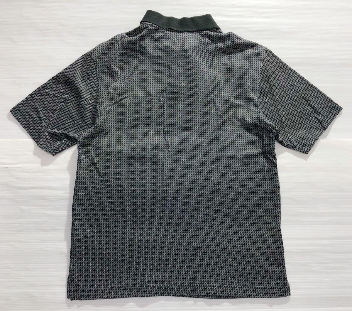 《le coq sportif GOLF ルコックゴルフ》ロゴ刺繍 総柄 半袖 ポロシャツ グレー×ブラック M_画像2