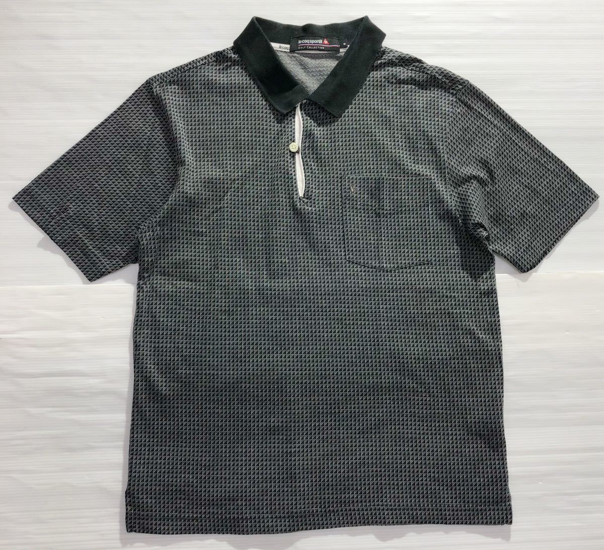 《le coq sportif GOLF ルコックゴルフ》ロゴ刺繍 総柄 半袖 ポロシャツ グレー×ブラック M_画像1