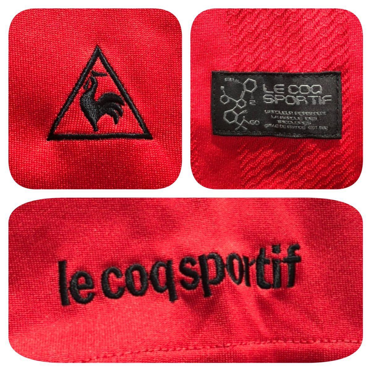 《le coq sportif GOLF ルコックゴルフ》ロゴ刺繍 半袖 ポロシャツ レッド_画像5