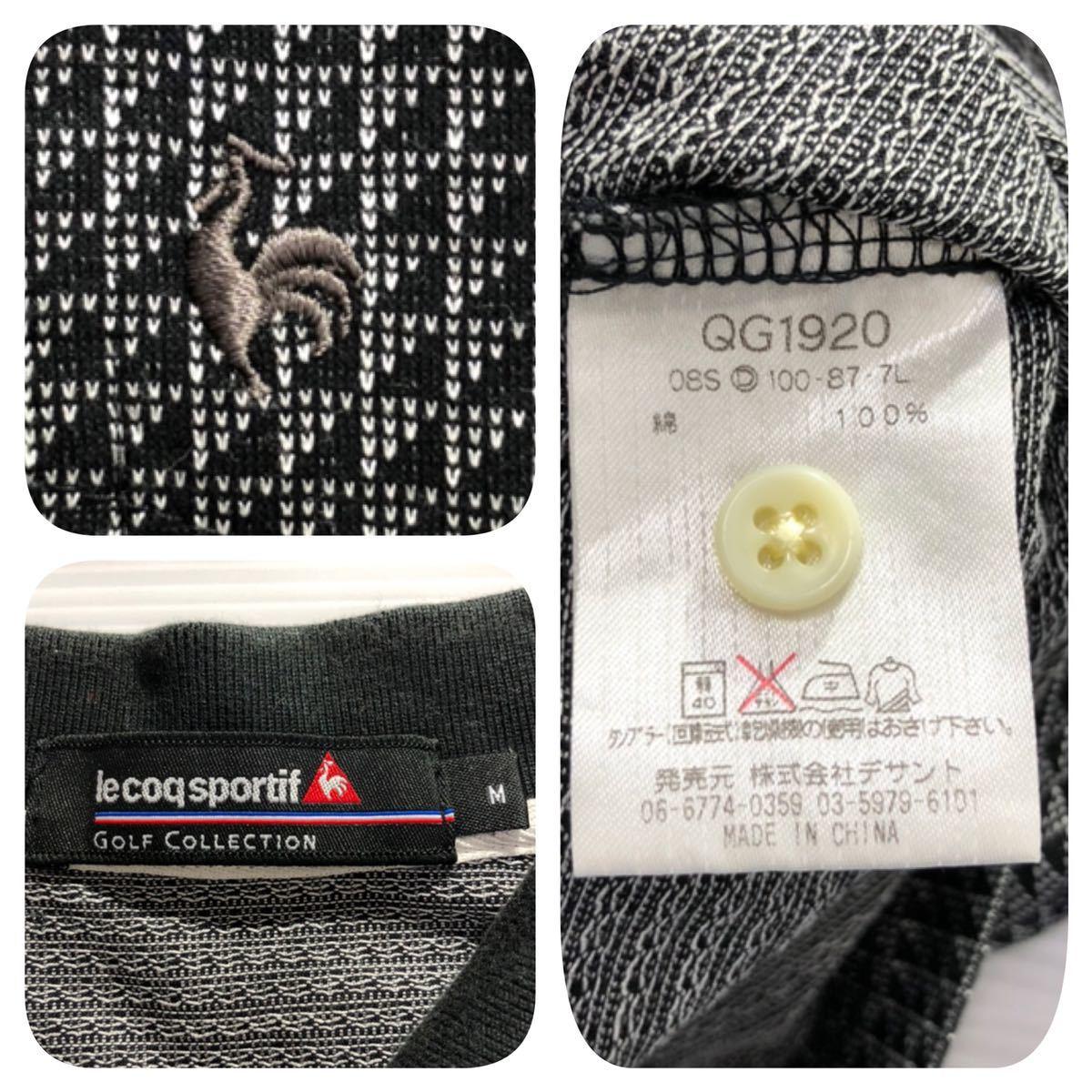 《le coq sportif GOLF ルコックゴルフ》ロゴ刺繍 総柄 半袖 ポロシャツ グレー×ブラック M_画像5
