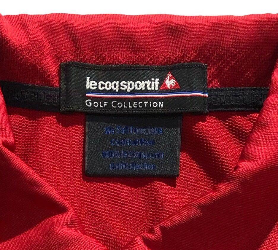 《le coq sportif GOLF ルコックゴルフ》ロゴ刺繍 半袖 ポロシャツ レッド_画像6