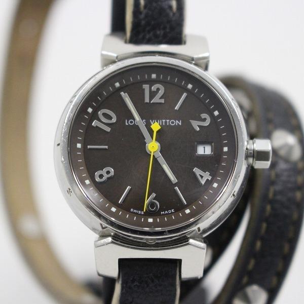 ルイヴィトン タンブール クォーツ レディース 腕時計 ブラウン文字盤 純正スハリライン2重巻きベルト Q1211【いおき質店】_画像1