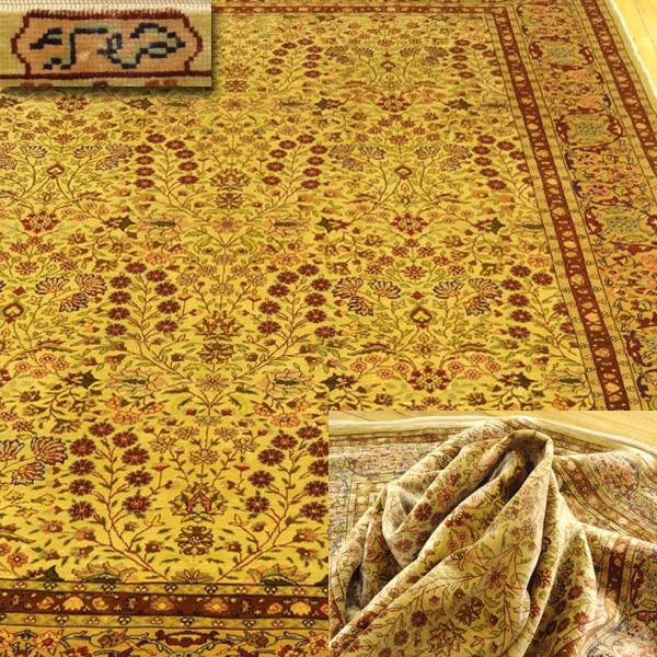 【侍】至高のペルシャ絨毯 総手織り シルク100% 約100万ノット エスリム 草花文様 幅約15