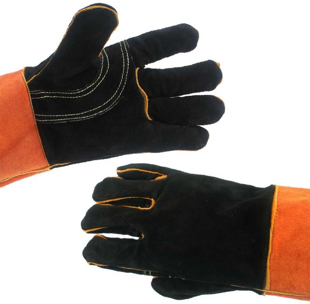 バーベキューグローブ 耐熱 手袋 キャンプ 牛革 BBQ フェス 耐熱グローブ 耐火グローブ 耐熱手袋 キャンプ手袋 2枚セット フリーサイズ■