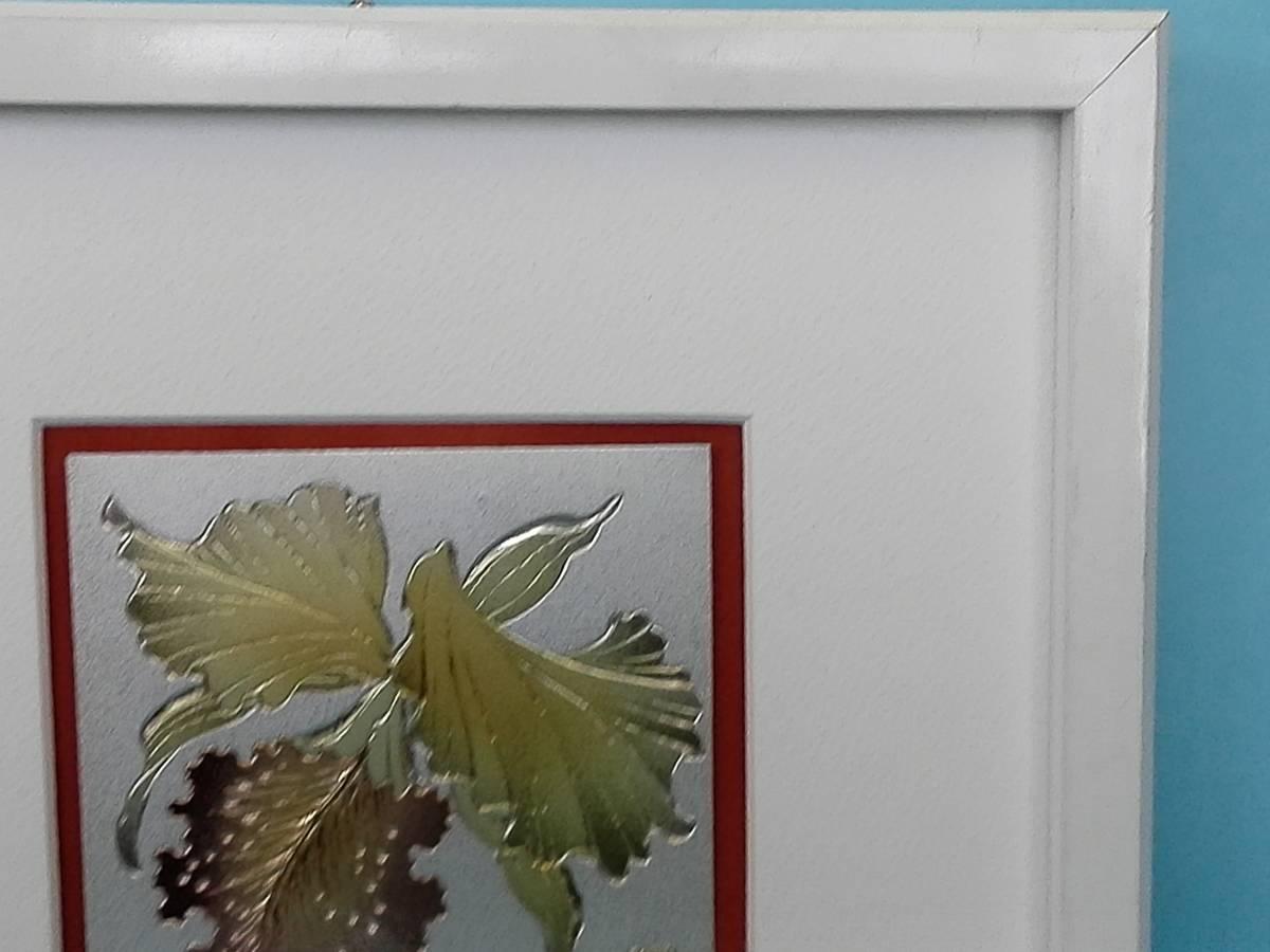 彫金 カトレア 花 ガラス額入り 21,8㎝x21,8㎝_画像5