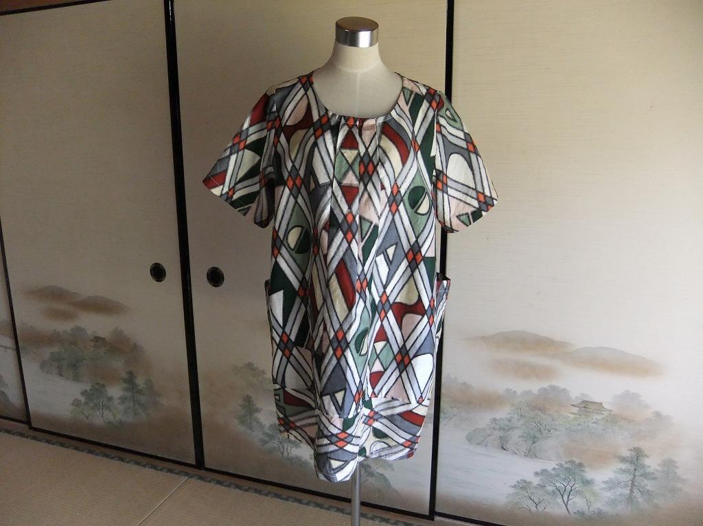 着物リメイク ★ 銘仙のゆったりブラウス ★ 古布手作り_画像1