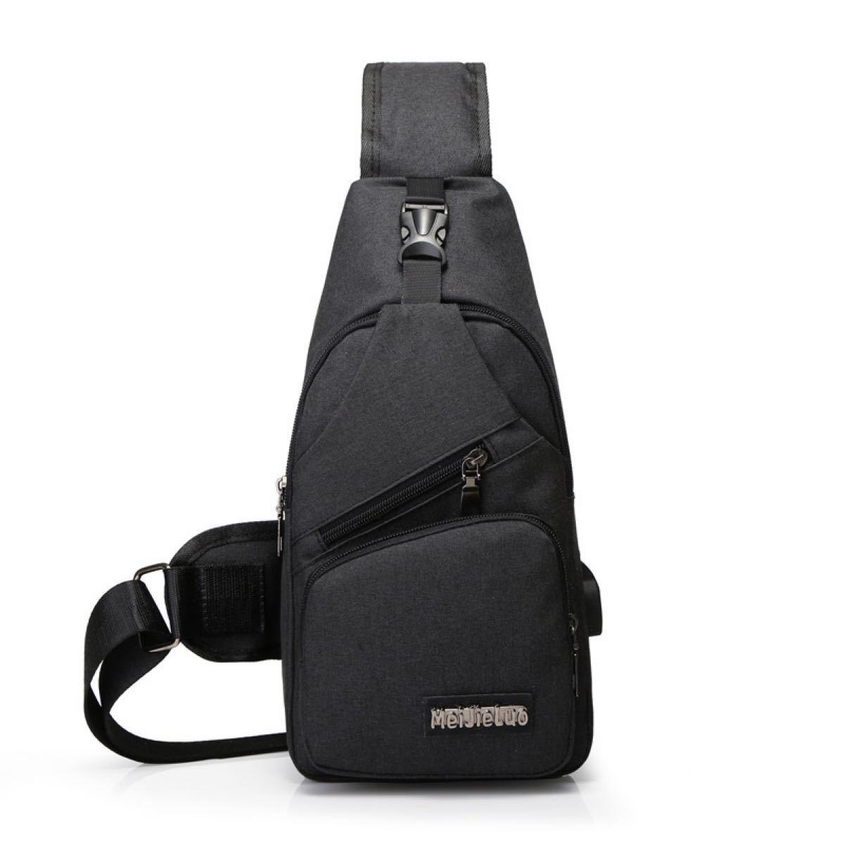 ボディバッグ ショルダーバッグ  軽量 USBポート付き 斜め掛け おしゃれ   メンズバッグ ボディバッグ