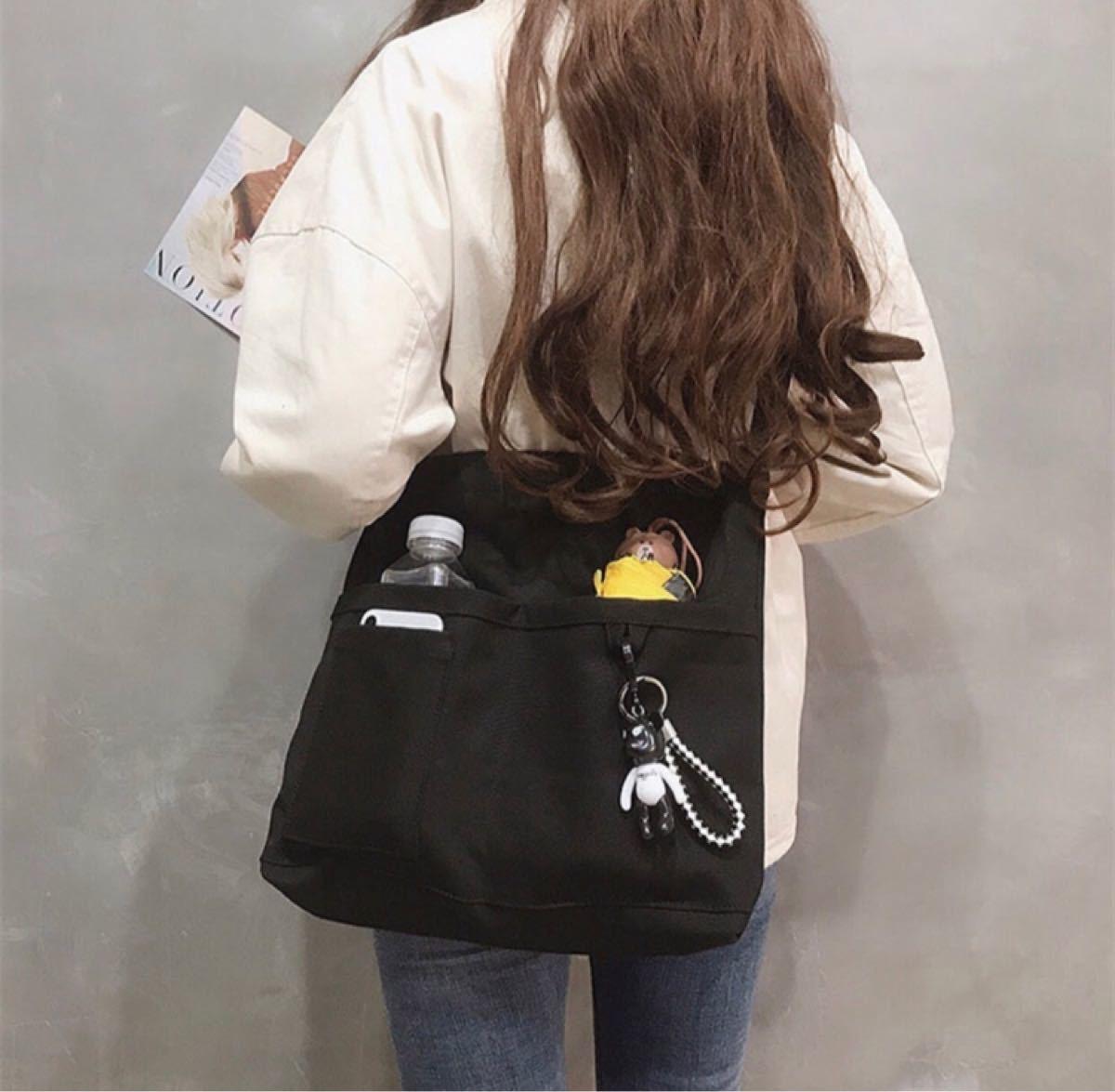 キャンバスバッグ ショルダーバッグ レディース メンズ  2way ブラック 大容量 A4 3ポケット トートバッグ 新品未使用
