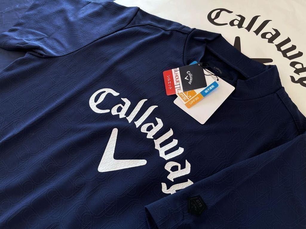本物 新品 1867496 Callawayキャロウェイ/サイズLL 超人気 ハイネック半袖シャツ 吸汗速乾 UVカット ボックス型 フロントビックロゴ