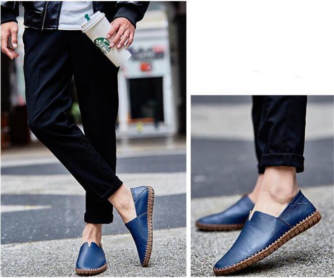 メンズ カジュアルシューズ スリッポン ローファー ドライビングシューズ 革靴 紳士靴 柔らかい スリッパ 大きいサイズ ブラウン 24~28.5cm_画像8