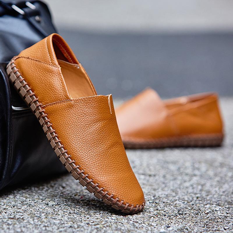 メンズ カジュアルシューズ スリッポン ローファー ドライビングシューズ 革靴 紳士靴 柔らかい スリッパ 大きいサイズ ブラウン 24~28.5cm_画像1