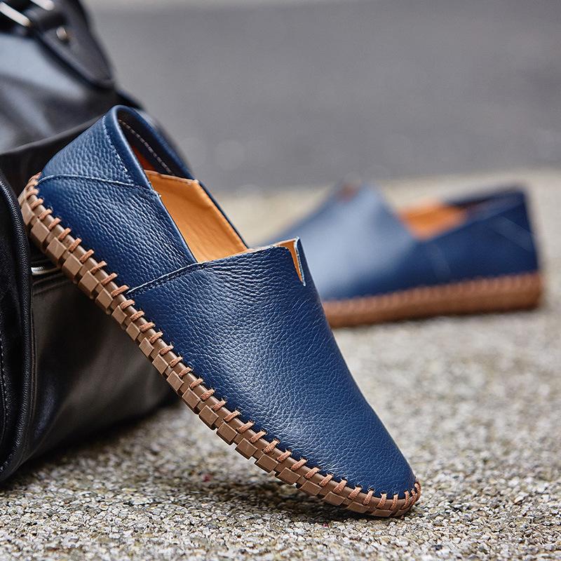 メンズ カジュアルシューズ スリッポン ローファー ドライビングシューズ 革靴 紳士靴 柔らかい スリッパ 大きいサイズ ブラウン 24~28.5cm_画像2