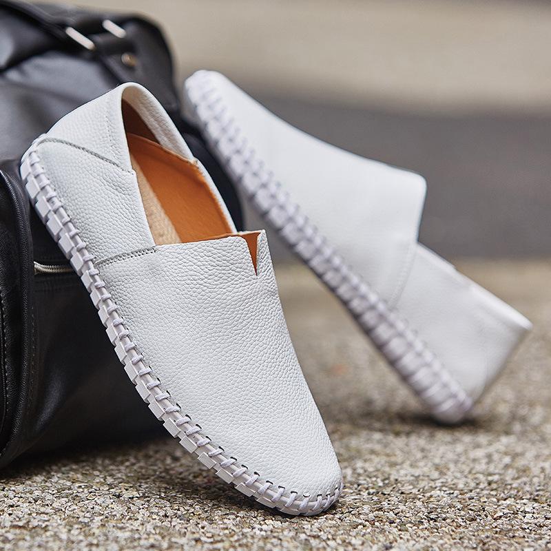 メンズ カジュアルシューズ スリッポン ローファー ドライビングシューズ 革靴 紳士靴 柔らかい スリッパ 大きいサイズ ブラウン 24~28.5cm_画像5