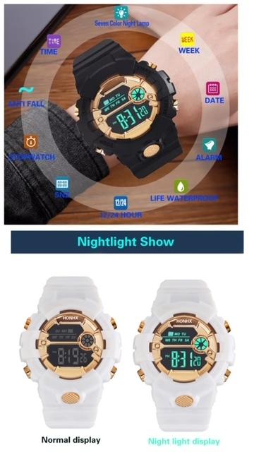 スポーツ腕時計 LED デジタル 腕時計 時計 ミリタリー 自転車 スポーツ アウトドア キャンプ 男女兼用 ランニング ブラック 22_画像3