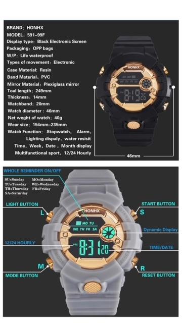 スポーツ腕時計 LED デジタル 腕時計 時計 ミリタリー 自転車 スポーツ アウトドア キャンプ 男女兼用 ランニング ブラック 22_画像7