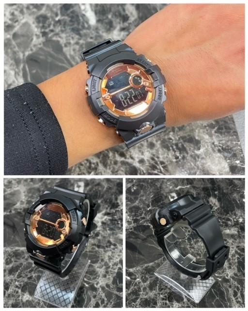 スポーツ腕時計 LED デジタル 腕時計 時計 ミリタリー 自転車 スポーツ アウトドア キャンプ 男女兼用 ランニング ブラック 22_画像4