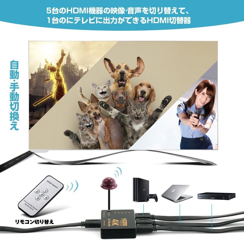 BOセレクターHDMI 5入力1出力 分配器 自動手動切り替え USB給電